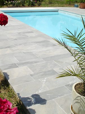 French marble - Bleu de Savoie acid etched Swimming pool coping and surround paving