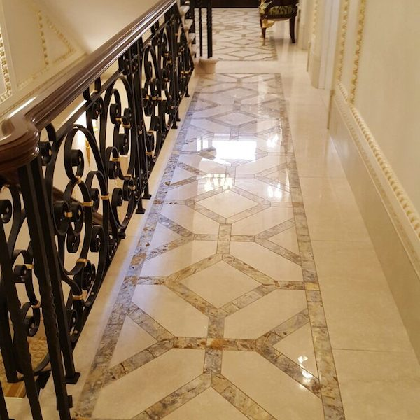 Italian limestone with inlaid French marble